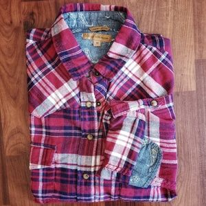 Jachs Girlfriend flannel navy and red button down